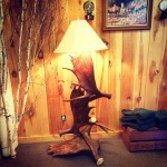 Floor Lamp with 3 Moose Antlers