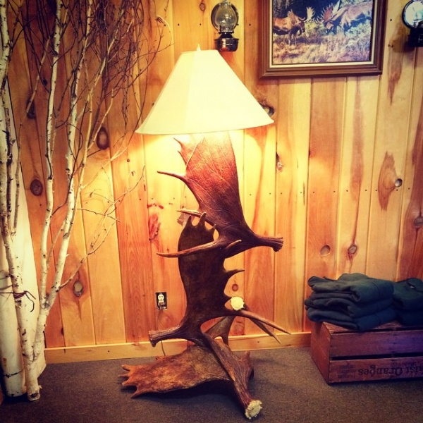 Antler art antler chandeliers seylers rustic furniture floor lamp with 3 moose antlers aloadofball Image collections