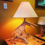 Moose Antler End Table Lamp